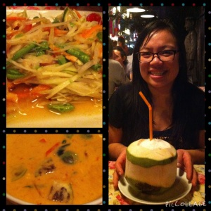 Papaya salad, curry and a refreshing coconut drink to end a long day of traveling.