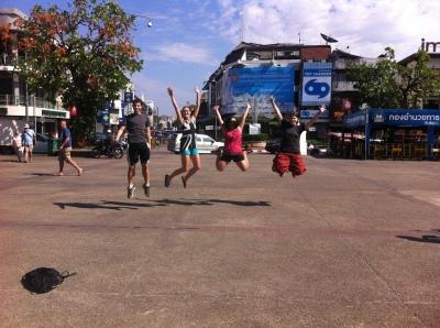 Jumping at Tha Pae Gate.